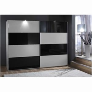 Easy Plus Sliding Wardrobe In White And Black Glass