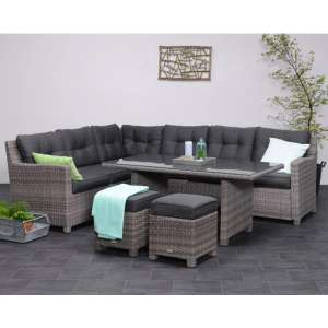 Blubrik Corner Lounge Sofa With Dining Set In Organic Grey