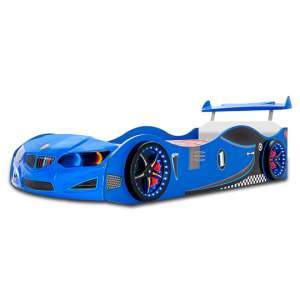 BMW GTI Childrens Car Bed In Blue With Spoiler And LED