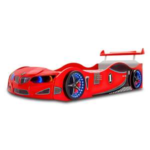 BMW GTI Childrens Car Bed In Red With Spoiler And LED