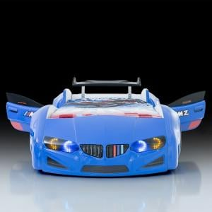 BMW Childrens Car Bed In Blue With LED Lighting And Spoiler_3
