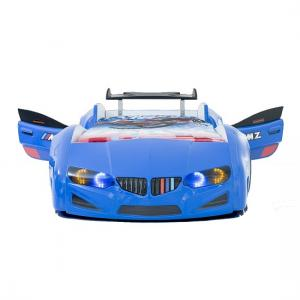 BMW Childrens Car Bed In Blue With LED Lighting And Spoiler_4
