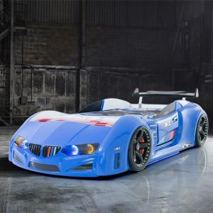BMW Childrens Car Bed In Blue With LED Lighting And Spoiler_5