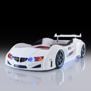 BMW Childrens Car Bed In White With LED Lighting And Spoiler_2