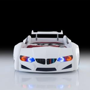 BMW Childrens Car Bed In White With LED Lighting And Spoiler_3