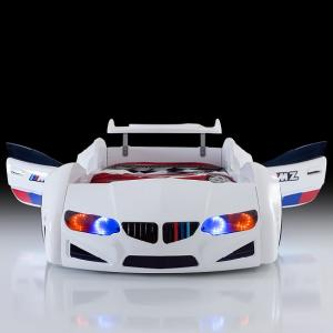 BMW Childrens Car Bed In White With LED Lighting And Spoiler_4