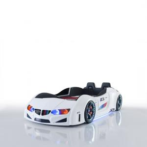 BMW Childrens Car Bed In White With LED And Leather Seats_4