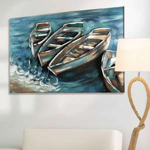 Boat on Shore Picture Metal Wall Art In Blue And Brown