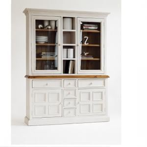 Boddem Buffet Display Cabinet In White Pine With Drawers