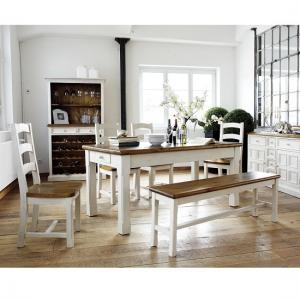Boddem Dining Table In Pine With 4 Chairs And Bench