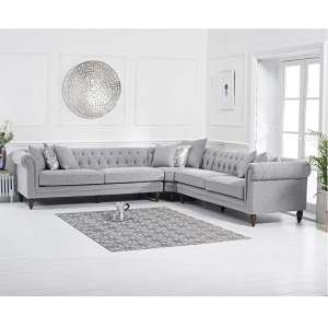 Bodzar Chesterfield Corner Sofa In Linen Grey With Wood Feet