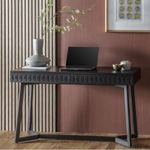 Boho Boutique Wooden Laptop Desk In Matt Black Charcoal