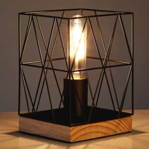 Boke Black Wire Frame Table Lamp With Natural Wooden Base
