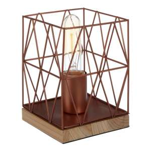 Boke Copper Wire Frame Table Lamp With Natural Wooden Base