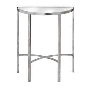 Bolek Mirrored Glass Half Moon Side Table With Silver Legs