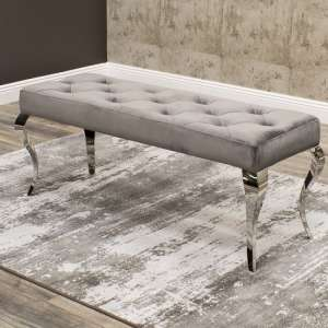 Bolero Dining Bench In Grey Velvet With Polished Metal Base