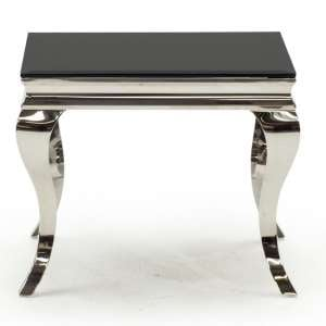 Bolero Glass End Table Square In Black With Metal Legs