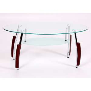 Bolivia Glass Coffee Table With Chrome Legs And Mahogany