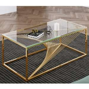 Bolzano Clear Glass Coffee Table With Gold Stainless Steel Legs