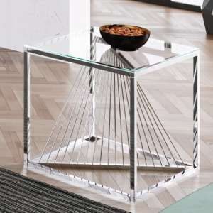 Bolzano Clear Glass Side Table With Silver Stainless Steel Legs