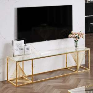 Bolzano Clear Glass TV Stand With Gold Stainless Steel Legs