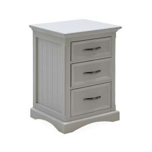 Boody Wooden Bedside Cabinet In Grey With Three Drawers