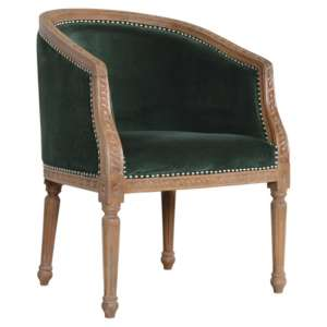 Borah Velvet Accent Chair In Emerald Green And Natural