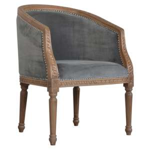 Borah Velvet Accent Chair In Grey And Natural