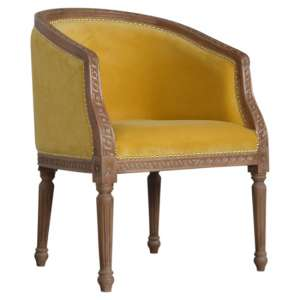 Borah Velvet Accent Chair In Mustard And Natural