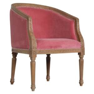 Borah Velvet Accent Chair In Pink And Natural