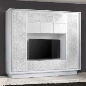 Borden Entertainment Wall Unit In White And Flowers Serigraphy