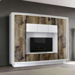 Borden Modern Entertainment Wall Unit In White And Pero