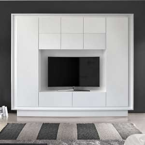 Borden Modern Entertainment Wall Unit In Matt White