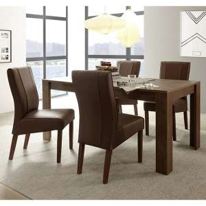 Borden Extending Cognac Oak Dining Table With 6 Miko Chairs