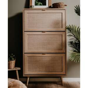 Borox Wooden Shoe Storage Cabinet In Sonoma Oak And Bast Look