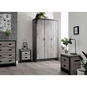 Boston Wooden 4Pc Bedroom Furniture Set In Grey