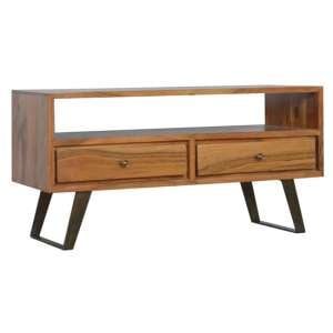 Boston Wooden TV Stand In Caramel With Iron Legs