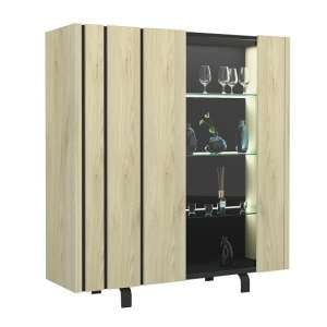 Boswell Wide Glass Display Cabinet In Oak With LED Lighting