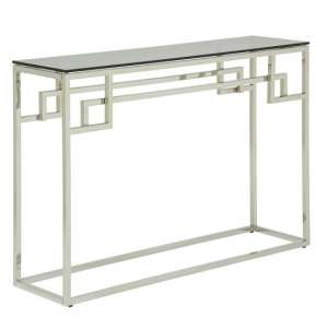 Bowden Glass Console Table In Smoked With Silver Frame