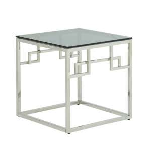 Bowden Glass Lamp Table Square In Smoked With Silver Frame