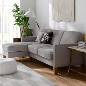 Bowen Fabric Corner Sofa with Contrast Welting In Linen Grey