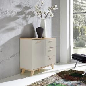 Bowen Compact Sideboard In Stone Grey And Oak With 3 Drawers