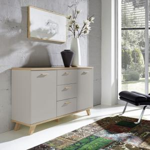 Bowen Sideboard In Stone Grey And Oak With 2 Doors And 3 Drawers