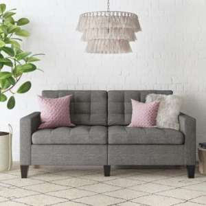 Bowie Fabric Large 2 Seater Sofa In Linen Grey