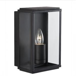 Box Outdoor Wall Light In Black With Bevelled Glass