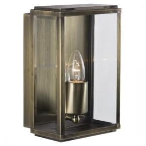 Box Outdoor Wall Light In Antique Brass With Bevelled Glass