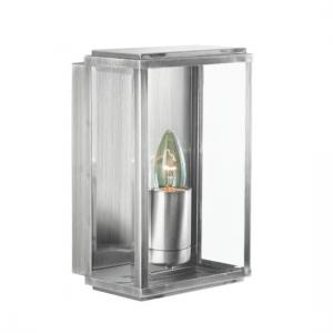 Box Outdoor Wall Light In Satin Silver With Bevelled Glass