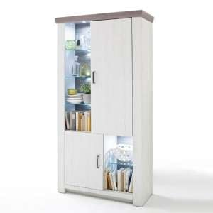 Bozen LED Wooden Display Cabinet In Pine And White With 2 Doors