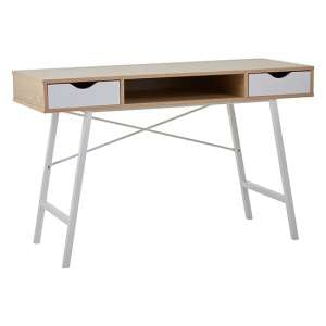 Bradken 2 Drawers Computer Desk In Natural Oak And White