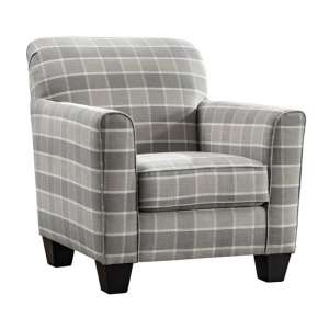 Braemar Fabric Accent Chair In Beige Checks